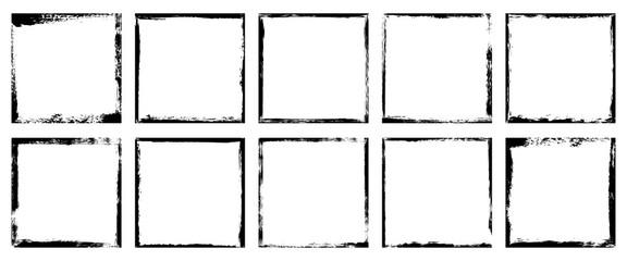 Fototapeta Vector illustration. Set of 10 frames in grunge style. Dirty borders collection on white background. Design elements for banner, poster, flyer, invitation, card, social networks, blog posts, stories obraz