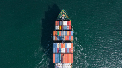 Wall Murals Rotterdam Aerial view container ship carrying container box global business cargo freight shipping commercial trade logistic and transportation oversea worldwide container vessel.Container cargo freight ship.
