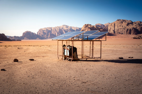 Off-grid and small scale solar installation in the desert of Wadi Rum, Jordan