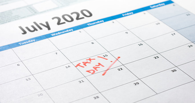 Tax day filing deadline pushed back to July 15 marked on calendar.