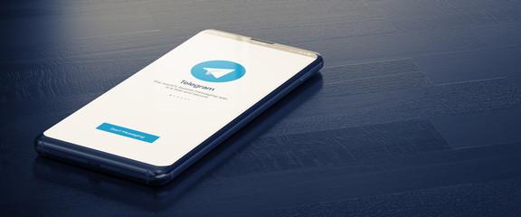 Telegram on Mobile Phone Screen. Telegram - Most Popular Messenger for Communication Between People in Internet. 3D Illustration. KYIV, UKRAINE-JANUARY, 2020: