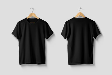 Black T-Shirt Mock-up on wooden hanger, front and rear side view. High resolution.
