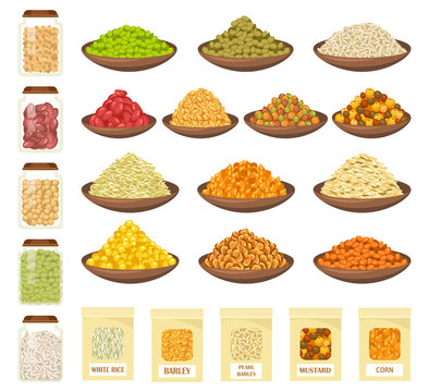 Cereals in bowls, rice, corn, barley, oats icons