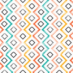 Colorful Squares and Zigzag Paint Brush Strokes Seamless pattern. Vector Abstract Grunge background