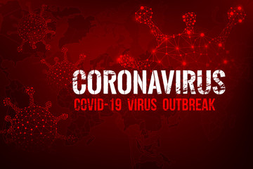 Coronavirus Covid-19 text outbreak with the world map and HUD 001