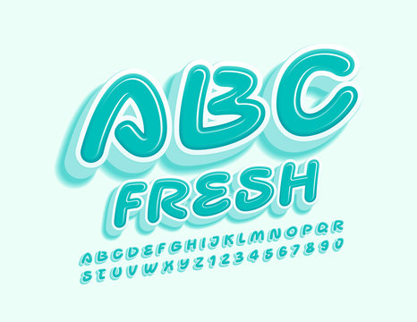 Vector Fresh Alphabet. Mint glossy Font, Creative trendy Letters and Numbers