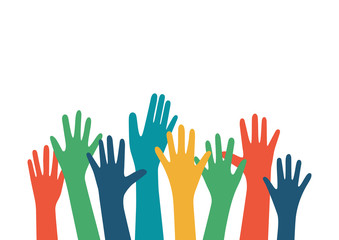 Hands up vector illustration with different skin color. Raised hands vector concept. Volunteering charity, party, votes, donation, team, help, friendship. Isolated on white background