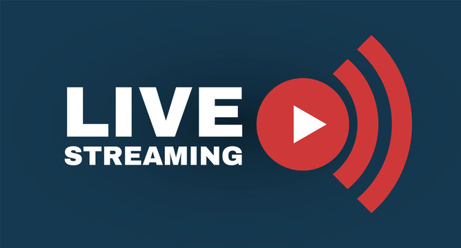 Live streaming logo with play button. Online stream sign. Flat simple design.