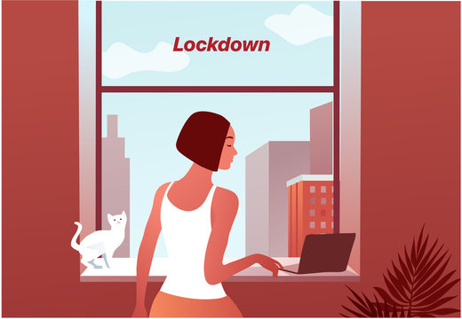 2019-ncov quarantine. Sad woman near the window. Lockdown at home type. Laptop. Remote work concept. Coronavirus panic. Isolated sick person vector illustration.