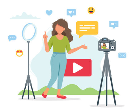 Female video blogger recording video with camera and light. Different social media icons. Cute vector illustration in flat style