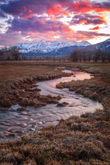 Printed roller blinds Deep brown Winding stream at sunset in a rural valley, Utah, USA.