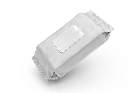 Blank Wet Wipes Soft Tissue Package For Branding, 3d render illustration.