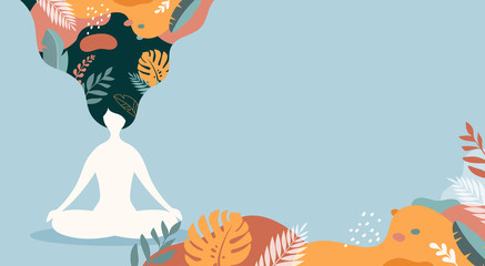 Coping with stress and anxiety with mindfulness, meditation and yoga. Vector background in pastel vintage colors with a woman sitting cross-legged and meditating. Vector illustration