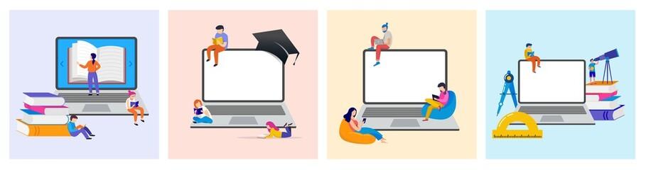 Fototapeta E-learning, online education at home. Modern vector illustration concepts for website and mobile website development obraz