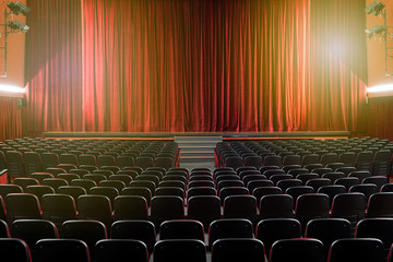 Large illuminated theatre hall with empty seats Fotomurales
