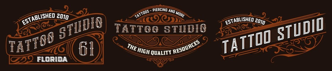 Set of 3 Tattoo logos with Vintage ornaments