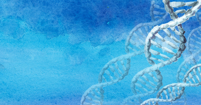 dna helix molecule. Biochemistry Concept. Hand drawn watercolor illustration with copy space