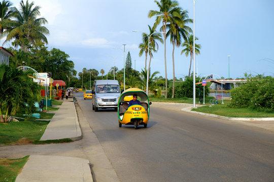 VARADERO, CUBA - August 09, 2019 tuk tuk taxi in Cuba