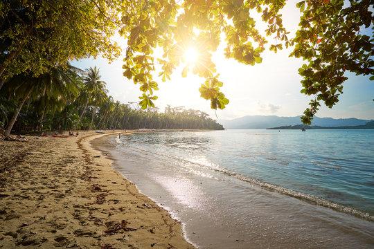 Port Baron Beach at sunset, Palawan, Philippines