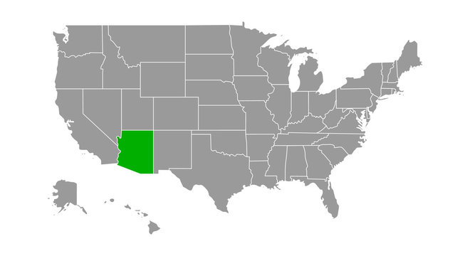 Map of United States with Arizona Highlighted