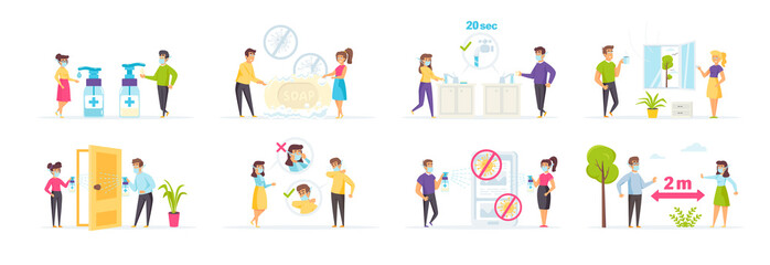 Obraz Coronavirus protection and prevention efforts vector illustration. Self-isolation, quarantine, disinfection, personal hygiene, use of antiseptics and safety masks, keeping distance, hand washing scene - fototapety do salonu