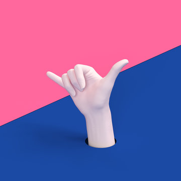 Shaka hand gesture. Surfing sign 3d illustration. Aloha fingers mannequin arm