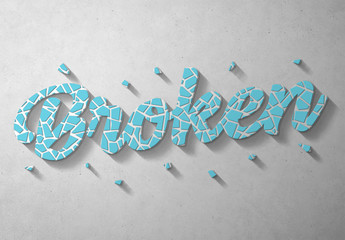 Blue Crackle Text Effect Mockup