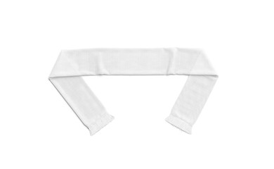 Blank white knitted soccer scarf mock up, top view