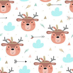 Cute print Boho style. Seamless pattern with cute little bunny. vector illustration. Vector print with bunny