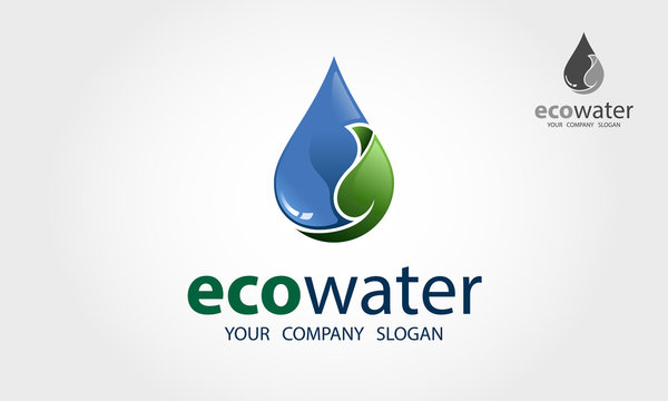 Eco Water Vector Logo Template. This logo perfectly use for plumbing and piping services, water maintenace services and any water related businesses as well.