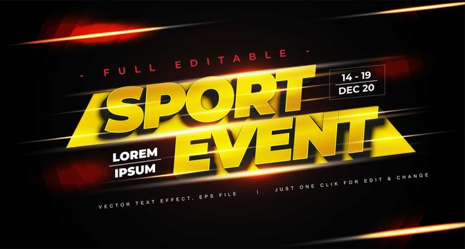 sport event text effect vector, editable text effect in adobe Illustrator, easy to customize to your needs with just one click, fonts not included