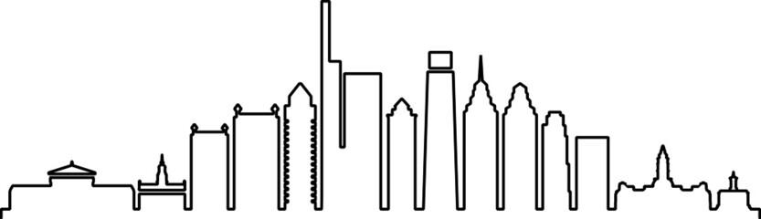 Fototapete - PHILADELPHIA City Skyline Silhouette Cityscape Vector