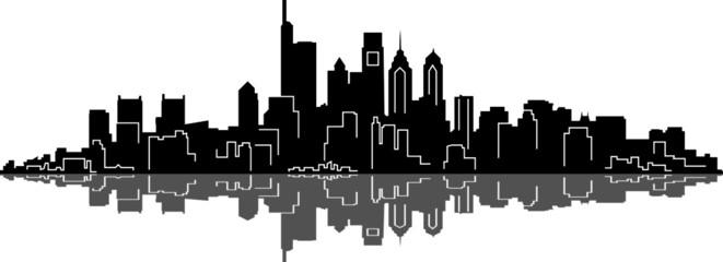 Foto auf AluDibond Weiß PHILADELPHIA City Skyline Silhouette Cityscape Vector