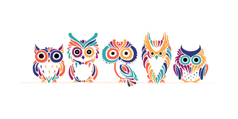 Aluminium Prints Owls cartoon Cute owls family. Colorful style for your design