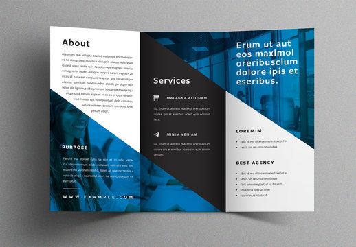 Trifold Brochure Design Layout with Blue Accent