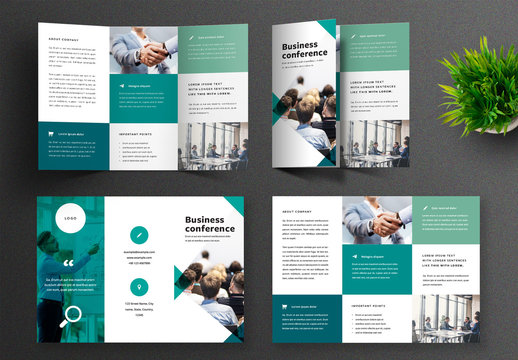 Trifold Brochure Layout with Tale Shades Accent