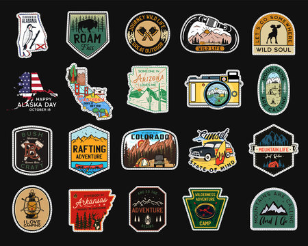 Vintage camp patches logos, mountain badges set. Hand drawn stickers designs bundle. Travel expedition, backpacking labels. Outdoor hiking emblems. Logotypes collection. Stock vector.