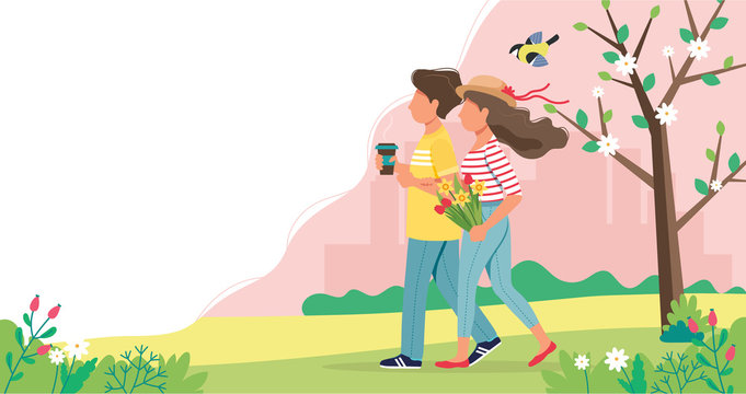 Couple walking in spring holding flowers and coffee cup. Cute vector illustration in flat style.
