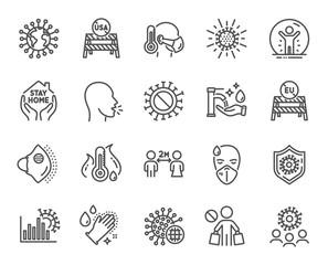 Coronavirus line icons. Medical protective mask, washing hands hygiene, eu shut borders. Stay home, safe distance, coronavirus epidemic mask icons. Covid-19 virus pandemic, usa close borders. Vector
