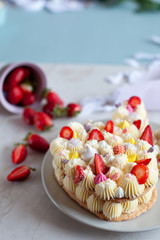 Details of bunny shaped tart for Easter with fresh strawberry