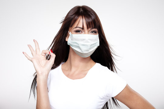 corona virus concept. woman in protective mask