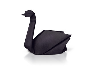 Papiers peints Cygne Origami paper rare black swan on a white