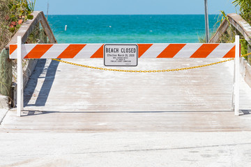 Barriers block beach access during national emergency