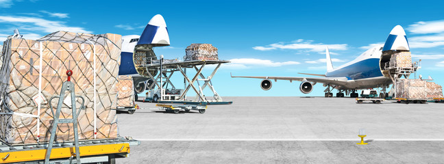 Foto op Canvas Vliegtuig loading cargo airplane on airport runway ultra wide panorama landscape with freight containers and shipping packages on foreground against blue clouds sky background Airport overview with cargo planes