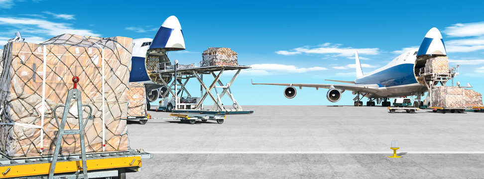 loading cargo airplane on airport runway ultra wide panorama landscape with freight containers and shipping packages on foreground against blue clouds sky background Airport overview with cargo planes