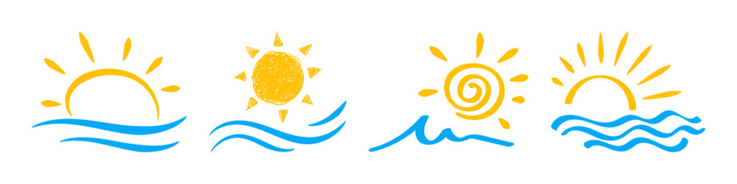 Sun and sea, ocean icon set illustration. Drawn by hand.