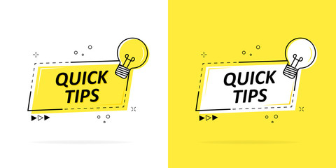Quick tips with a logo, badge or character set in black and yellow and a light bulb for web design. Vector illustration.