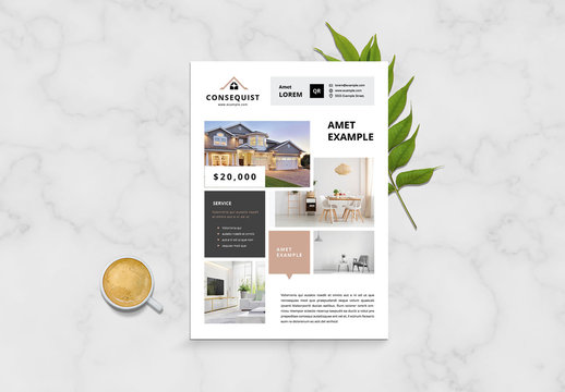 Business Flyer Layout with Tan and Gray Accents