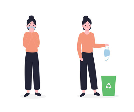 girl in a medical mask, girl throws a mask in the bin