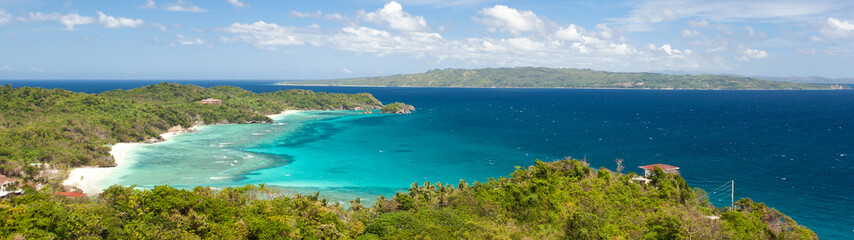 Fototapete - Tropical beach with white sandy coast and turquoise sea. Tropical destination. Summer vacations